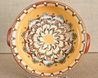 Vintage Clay Casserole/ Serving Dish - Artisan Design - Excellent Condition