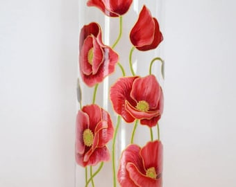 Wedding Gift for Friends Hand Painted Vase Flower Home Decor Wedding Vase Table Centerpiece Red Poppies Tall Cylinder Colorful Glass Vase