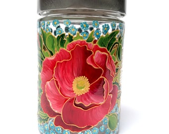 Hostess gift Painted Glass Decoration Jar with lids Kitchen Glass Decor Handpainted Containers Houseware  Mom gift Red White Blue Flowers