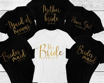 c7128c5b4 Personalised Hen Party T shirt, bridal party top for the bride, bridesmaid,  maid of honour with a matching badge.