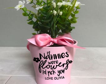 Pink flower pot etsy mothers day flower pot gift personalised plant pot for nanny grandma nana granny small pink flower pot mightylinksfo