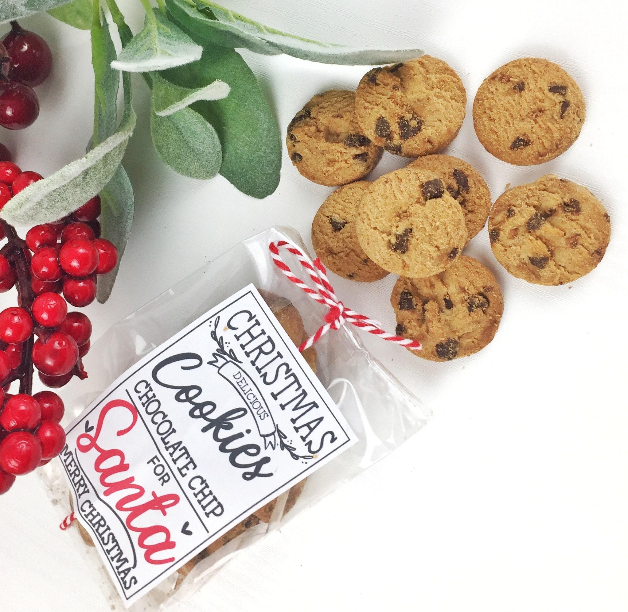 Bag of mini chocolate chip Cookies for Santa on Christmas Eve. | Etsy