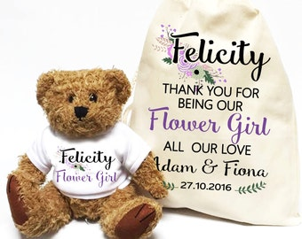 Flower Girl teddy bear, wedding day gift , personalised bridesmaid teddy thank you favour.