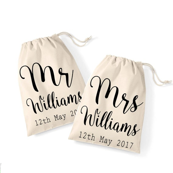 Wedding Gifts Mr And Mrs: Mr And Mrs Wedding Gift Bag Set Personalised Cotton