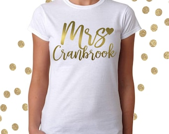 The new Mrs wedding day morning  t shirt. Personalised honeymoon top for the new Bride.