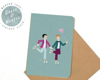 GLBTIQ | Gay | Lesbian | Greeting Card: 'Rollerskates'