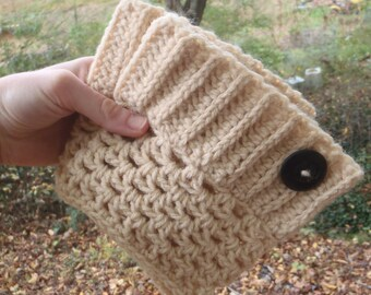 Button Boot Cuffs Beige - Crochet White Boot Toppers - Boot Sleeve