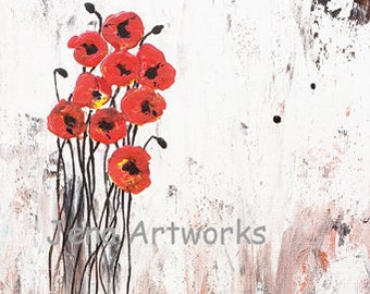 """Floating 10 x 8 x .75"""" Original Acrylic Painting on Stretched Canvas, Flowers, Nature, Flora, Poppies.  Free Shipping"""