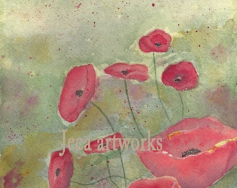 Poppy Fields 8 x 10 Print Free Shipping