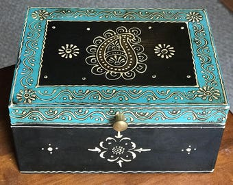 Teal Keepsake Jewelry Treasure Trinket wood box from India for women, indian wedding gift, diwali gift, men's watch, wallet, keys organizer