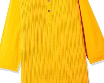 Boys Yellow Cotton Kurta for Summer casual wear, party wear, weddings, marriages, Diwali , Holi, Birthday, Navratri, garba, dance, India