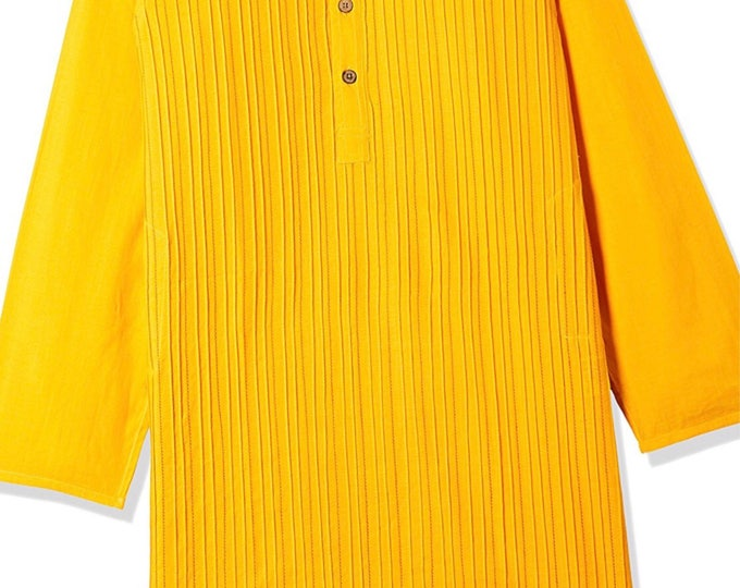 Boys Yellow Cotton Kurta for Summer casual wear, party wear, weddings, marriages, Diwali , Holi, Birthday, Navratri, garba, dance, India