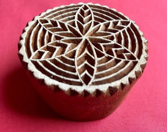 ON SALE Hand carved Round Flower Wooden Block Stamp, textile t shirt printing, scrapbooking, henna, pottery, school art crafts project India