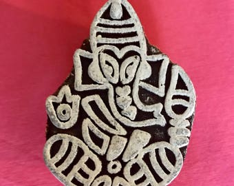 Hand carved Wooden Ganesh Block Stamp for textile t-shirt printing, scrapbooking, henna, clay work, pottery, Indian design, Arts and Crafts