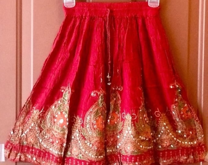 ON SALE Short Sequin Red Skirt, Boho Gypsy Skirt, Bollywood India Skirt, Mini Midi Sequin Skirt, Summer Park Beach Skirt