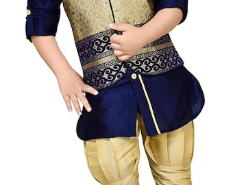 Boys Navy Blue Kurta waistcoat pant, Ethnic India wedding, Diwali traditional, Navratri, Dussehra, Pooja, Birthday party boys outfit