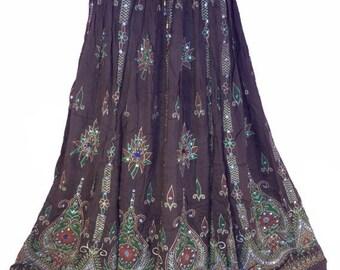 ON SALE Brown Earth Tone Skirt, Boho Gypsy Skirt, Bollywood India Skirt, Long Sequin Skirt, Belly Dance Skirt, Summer Skirt, Bohemian Skirt