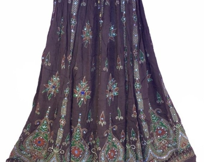 ON SALE Brown Earth Tone Skirt, Boho Gypsy Skirt, Bollywood India Skirt, Long Sequin Skirt, Belly Dance Skirt, Summer Skirt, Bohemian Skirt