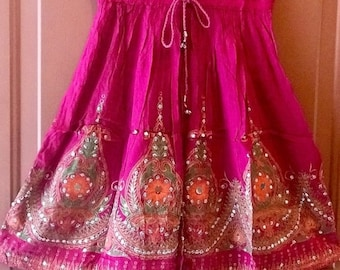 ON SALE Short Sequin Vibrant Pink Skirt, Boho Gypsy Skirt, Bollywood India Skirt, Mini Midi Sequin Skirt, Summer Park Beach Skirt