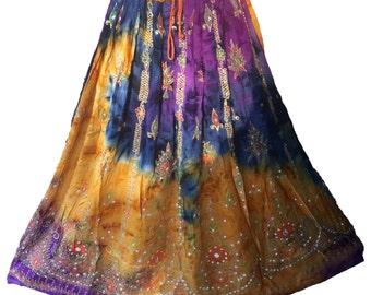 Purple Gold Tie Dye Skirt, Boho Gypsy Elegant Skirt, Bollywood India Skirt, Long Sequin Skirt, Belly Dance Skirt, Fall Skirt, Park Skirt