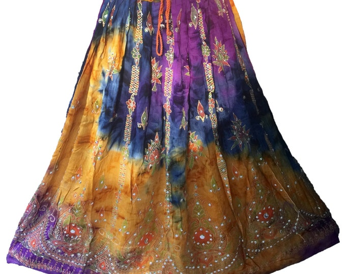 Purple Gold Tie Dye Skirt, Boho Gypsy Elegant Skirt, Bollywood India Skirt, Long Sequin Skirt, Belly Dance Skirt, Fall Skirt, Park Skirt