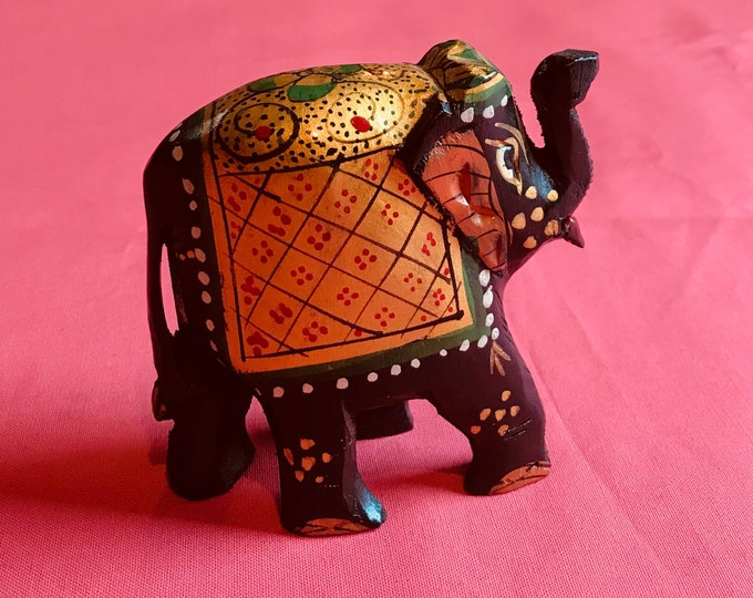 Small Elephant Statue Hand painted wooden for home decor good fortune luck collectibles trunk up India design Birthday Wedding Diwali gifts