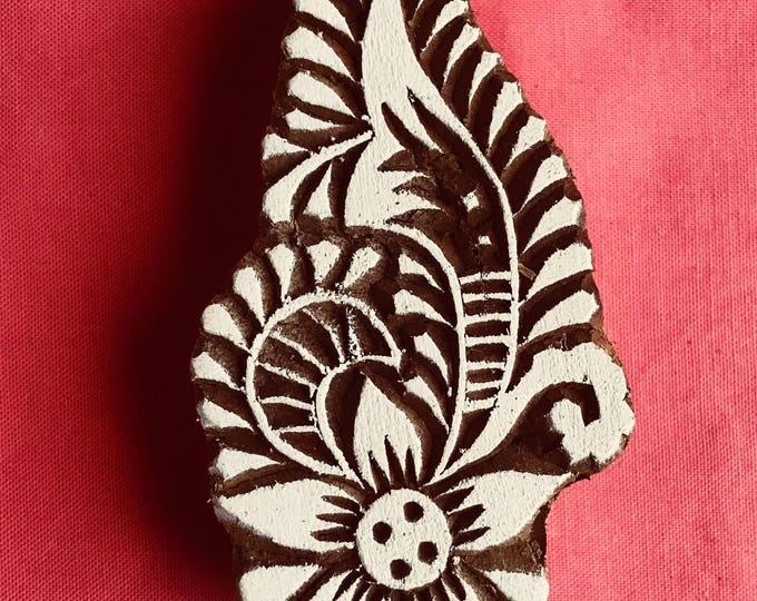 Paisley Flower Hand carved Wooden Block Stamp for textile printing, scrapbooking, henna, pottery, school arts crafts project, Indian design