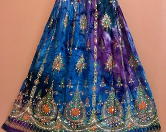 Blue Purple Tie Dye Skirt, Boho Gypsy Elegant Skirt, Bollywood India Skirt, Long Sequin Skirt, Belly Dance Skirt, Fall Skirt, Park Skirt