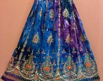 Blue Purple Tie Dye Skirt, Boho Gypsy Elegant Skirt, Bollywood India Skirt, Long Sequin Skirt, Belly Dance Skirt, Fall Skirt, Park Skirt