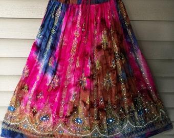 Pink Tie Dye Skirt, Boho Gypsy Elegant Skirt, Bollywood India Skirt, Long Sequin Skirt, Belly Dance Skirt, Summer Skirt, Beach Park Skirt