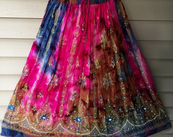 Pink Tie Dye Skirt, Boho Gypsy Elegant Skirt, Bollywood India Skirt, Long Sequin Skirt, Belly Dance Skirt, Summer Skirt, Beach Park Skirt