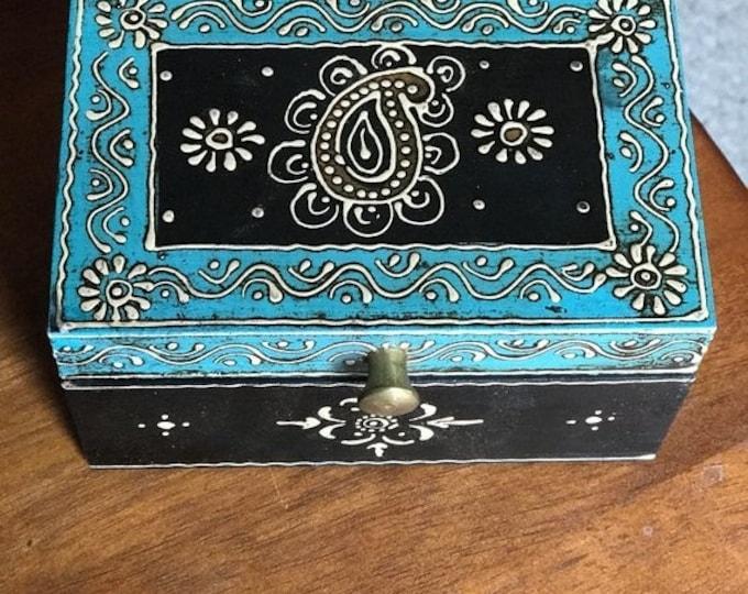 50% SALE Small Teal Black keepsake box from India, handmade wood treasure and trinket box, women's and men's organizer, jewelry box, memory