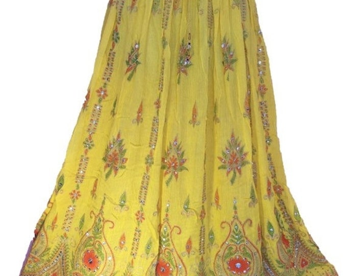 ON SALE Sunny Yellow Skirt, Boho Gypsy Elegant Skirt, Bollywood India Skirt, Long Sequin Skirt, Belly Dance Skirt, Summer Skirt, Beach Park