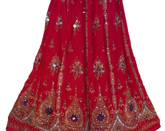 Vibrant Red Festive Long Skirt / Dress, Boho Gypsy Elegant Skirt, Bollywood India Skirt, Sequin Skirt, Belly Dance Skirt, Bohemian skirt