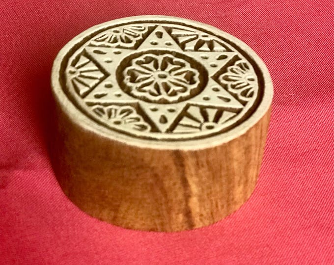 Hand carved Wooden Round Block Stamp for textile printing, scrapbooking, henna, pottery, Indian design