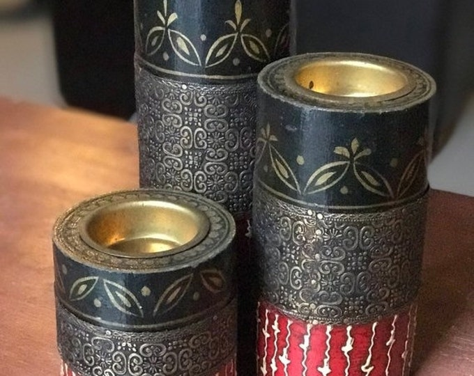 50% SALE 3 piece wood brass red black candleholders from India, wedding Diwali Christmas birthday mothers day bridal shower gift, gift for m