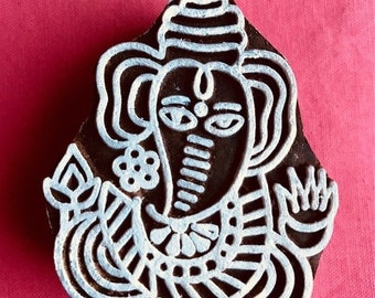 ON SALE Ganesha Hand carved Wooden Block Stamp for textile t-shirt printing, scrapbooking, henna, clay work, pottery, Indian design, Arts Cr