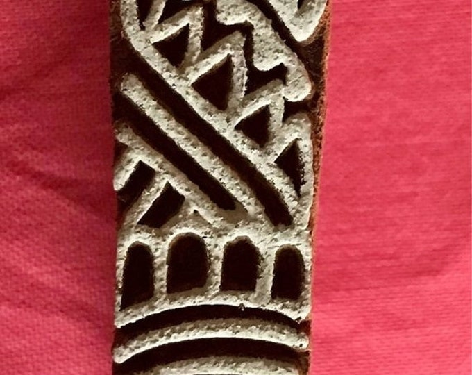 ON SALE Hand carved Wooden Border Finger Block Stamp for textile printing, scrapbooking, henna fingers, pottery, Indian design
