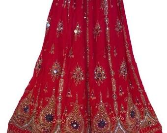 ON SALE Vibrant Red Festive Long Skirt / Dress, Boho Gypsy Elegant Skirt, Bollywood India Skirt, Sequin Skirt, Belly Dance Skirt, Bohemian s