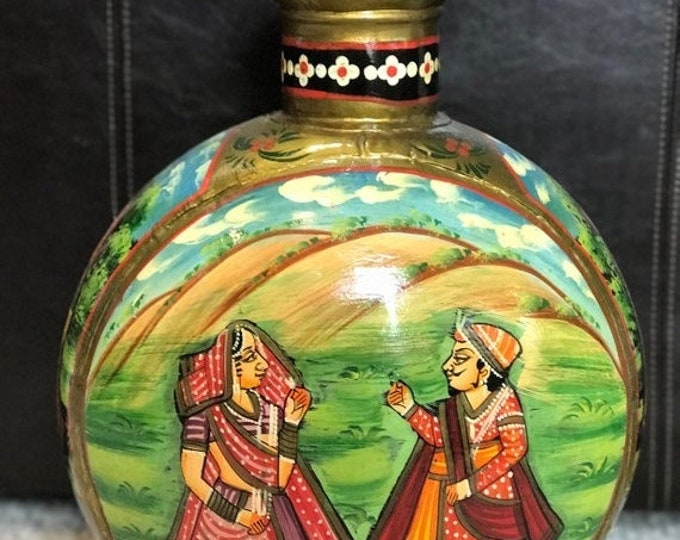 50% SALE Hand painted metal vase from India, stand alone pot home decor, cultural educational vase with painting of man woman in picturesque