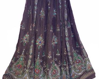 Brown Earth Tone Skirt, Boho Gypsy Skirt, Bollywood India Skirt, Long Sequin Skirt, Belly Dance Skirt, Summer Skirt, Bohemian Skirt Dress