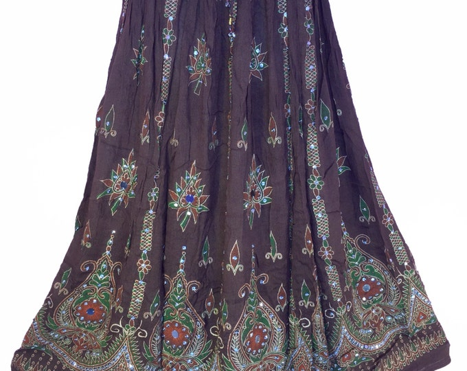 Brown Earth Tone Skirt, Boho Gypsy Skirt, Bollywood India Skirt, Long Sequin Skirt, Belly Dance Skirt, Summer Skirt, Bohemian Skirt Dress