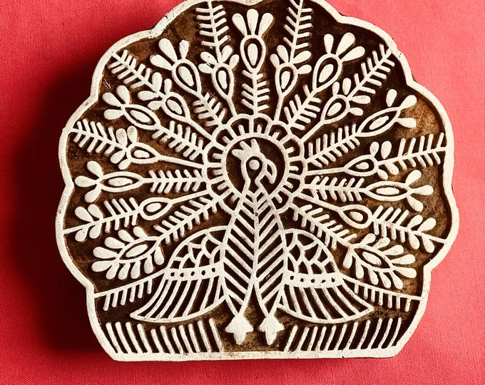 Hand carved Wooden Large Dancing Peacock Block Stamp for textile t-shirt fabric printing, scrapbooking, henna, clay work, pottery, art work