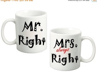 ON SALE Couples Mr. Right Mrs. Always Right - 11 Oz Funny Coffee Mugs (Set of 2) Wedding Gift, Anniversary Gift, Couples Gift set for Bride