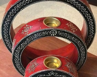 50% SALE 3 piece round wood red black candleholders from India, wedding Diwali Christmas birthday mothers day bridal shower gift, gift for m