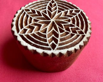 Hand carved Round Flower Wooden Block Stamp, textile t shirt printing, scrapbooking, henna, pottery, school art crafts project India designs