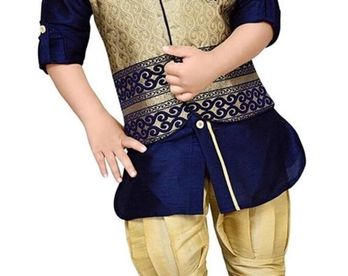 ON SALE Boys Navy Blue Kurta waistcoat pant, Ethnic India wedding, Diwali traditional, Navratri, Dussehra, Pooja, Birthday party boys outfit