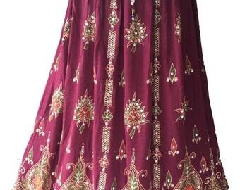 ON SALE Vibrant Maroon Festive Long Skirt / Dress, Boho Gypsy Elegant Skirt, Bollywood India Skirt, Sequin Skirt, Belly Dance Skirt, Bohemia