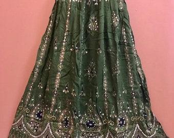 ON SALE Sparkling Green Skirt, Boho Gypsy Skirt, Bollywood India Party Skirt, Long Sequin Belly Dance Skirt, Summer Skirt, Bohemian Skirt Dr