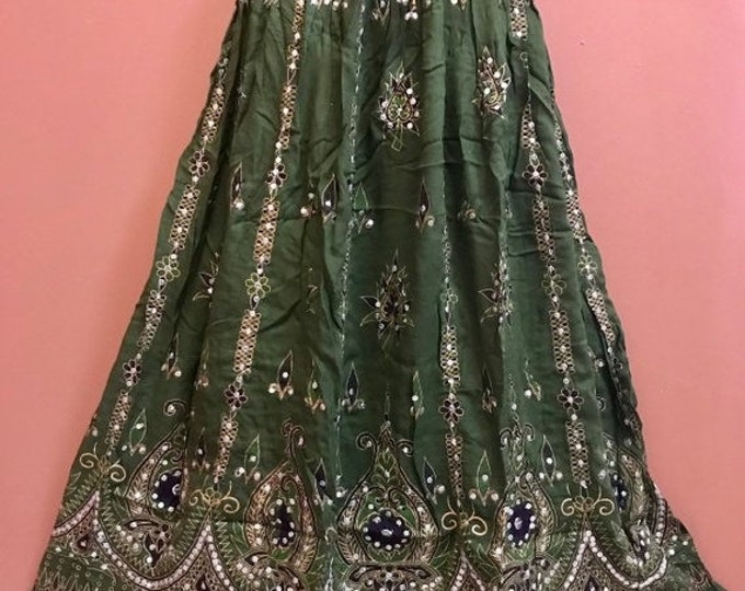 ON SALE Sparkling Green Skirt, Boho Gypsy Skirt, Bollywood India Party Skirt, Long Sequin Belly Dance Skirt, Summer Skirt, Bohemian Skirt Dr